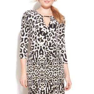 Calvin Klein leopard-print keyhole faux-wrap dress